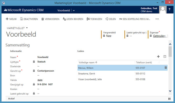 Marketinglijsten gebruiken in Microsoft Dynamics CRM software