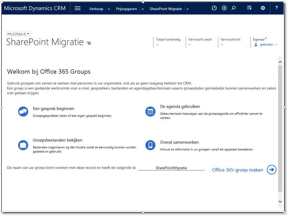 Dynamics 365/CRM Online geïntegreerd met Office 365-groepen