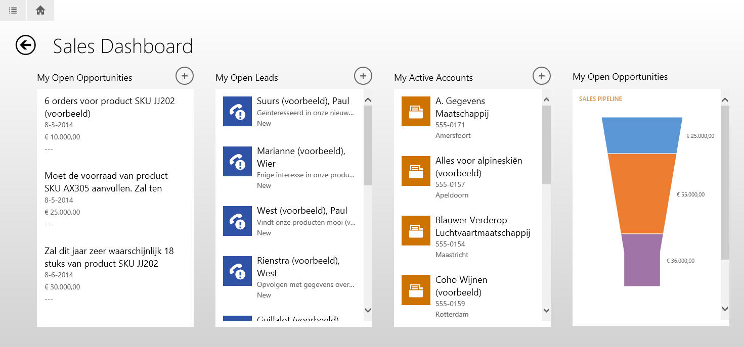 Microsoft Dynamics 365/CRM software voor tablets