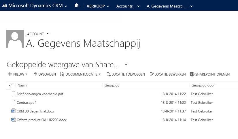 SharePoint integratie met CRM