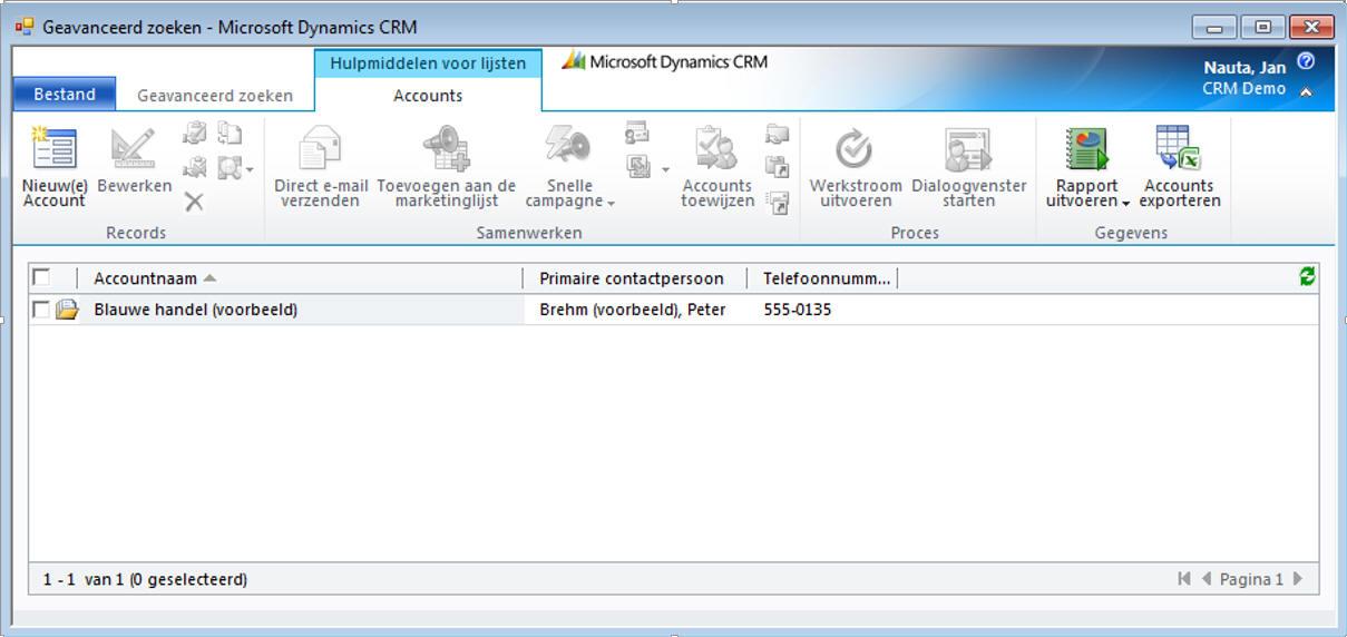 Geavanceerd zoeken in Microsoft Dynamics 365/CRM software