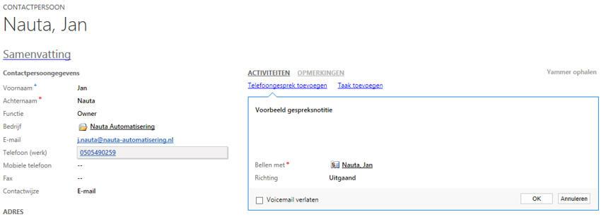 Integratie met Skype en Microsoft Lync - Microsoft Dynamics 365/CRM software