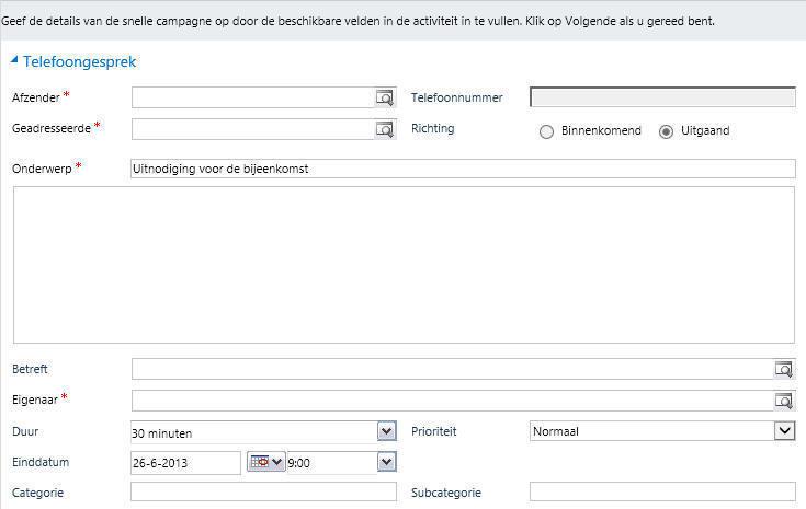 Werken met snelle campagnes in Microsoft Dynamics 365/CRM software