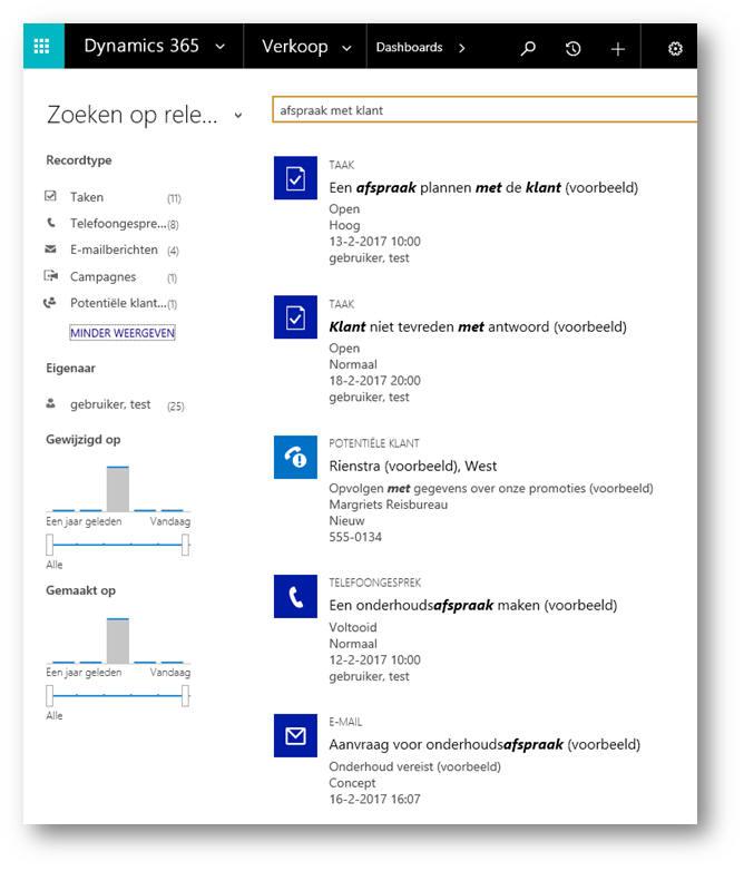 Met Zoeken op relevantie in Microsoft Dynamics 365/CRM