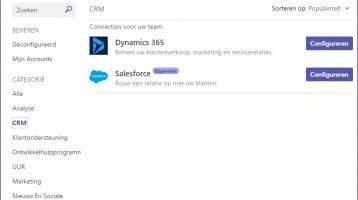 Microsoft Dynamics 365 CRM Online gekoppeld aan Microsoft Teams