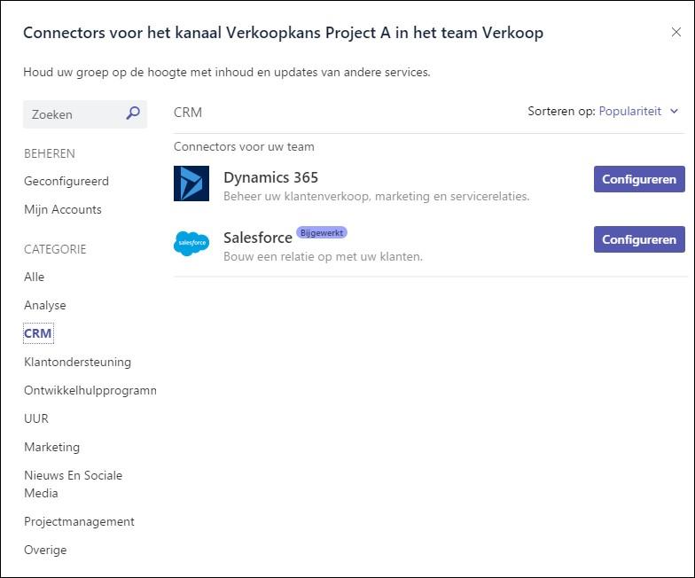 Dynamics 365/CRM en Microsoft Teams