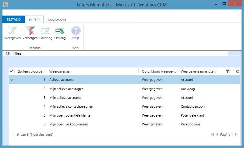 In dit scherm kunt u aangeven welke filters weergegeven of verborgen moeten worden en de weergave volgorde bepalen. Uw administrator kan weergaven toevoegen een aanpassen.