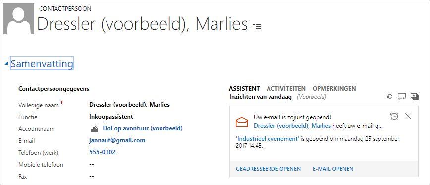 Een actiekaart verschijnt zodra een e-mail is geopend.