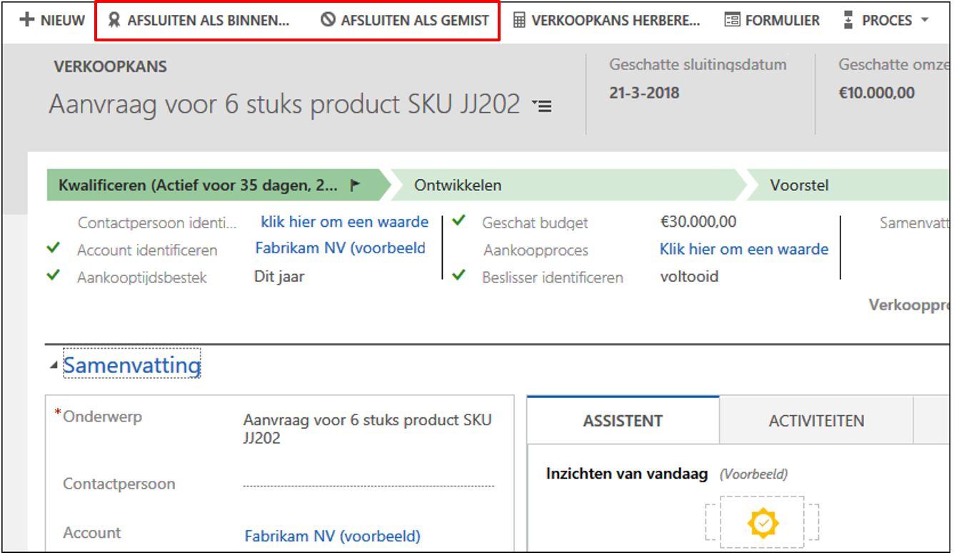 Dynamics 365 crm verkoopproces