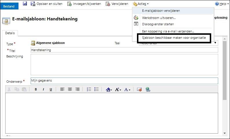 crm e-mail sjablonen