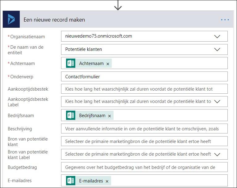 Microsoft Flow en Dynamics 365 CE Contactformulier