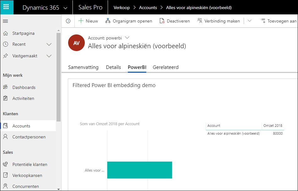 Power BI rapport op de klantkaart in Dynamics 365 CRM