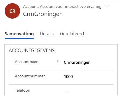 account met een automatisch nummer