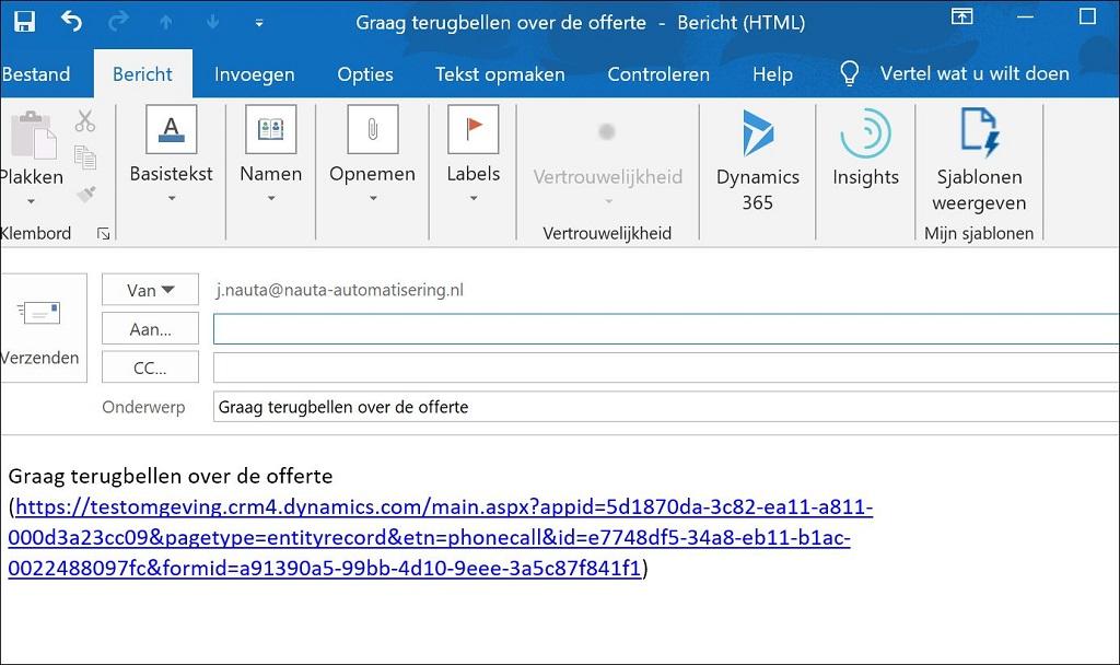 Terugbelverzoek versturen en bewaken in Microsoft 365/CRM software